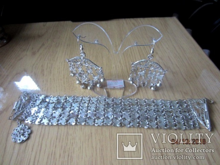 Набор винтажный (браслет серьги) филигрань, ручная работа, фото №2