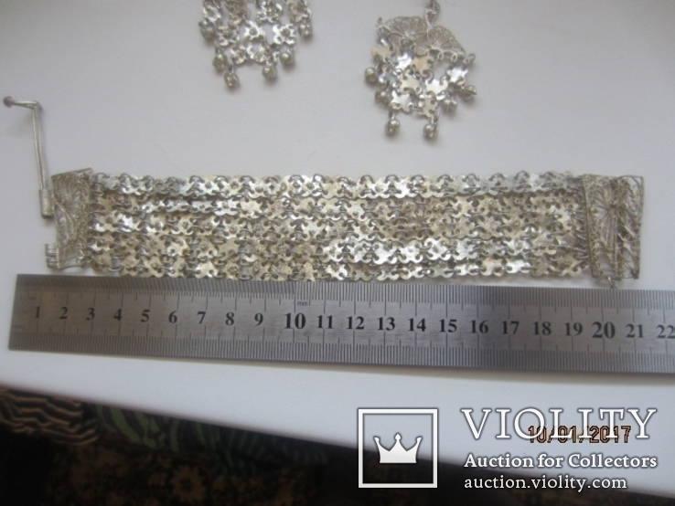 Набор винтажный (браслет серьги) филигрань, ручная работа, фото №5