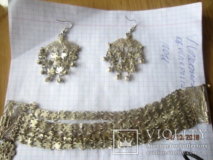 Набор винтажный (браслет серьги) филигрань, ручная работа, фото №9