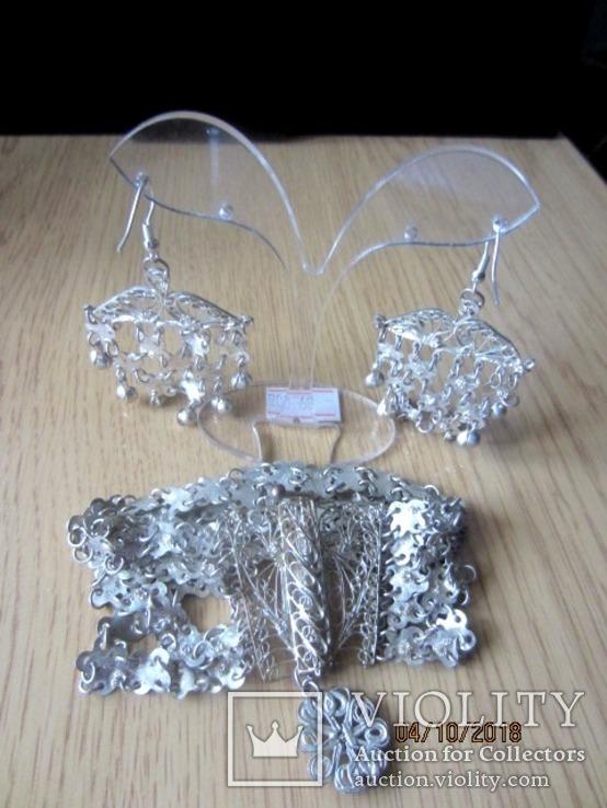 Набор винтажный (браслет серьги) филигрань, ручная работа, фото №11