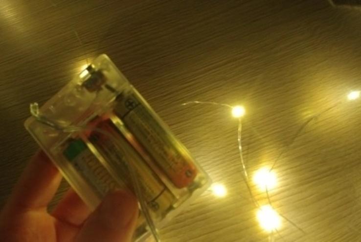 Гирлянда роса LED светодиодная. 2 метра Проволочная. На батарейках, фото №10