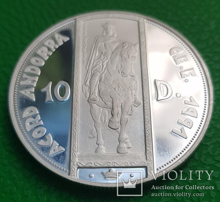 10 динер Андорра 1991 год серебро 31,6 грамм
