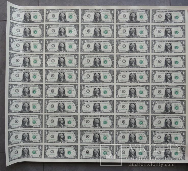 Целый не разрезанный лист 1 доллар 50 купюр 2013 год