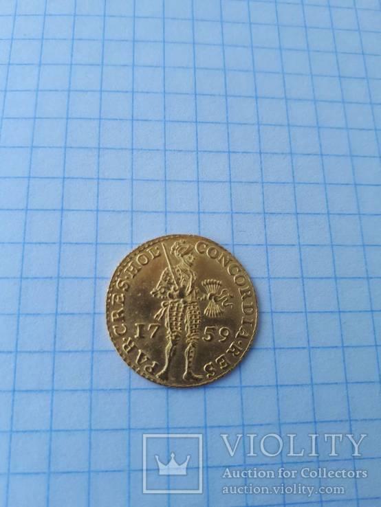 Золотой дукат 1759 г. Нидерланды, провинция Holland