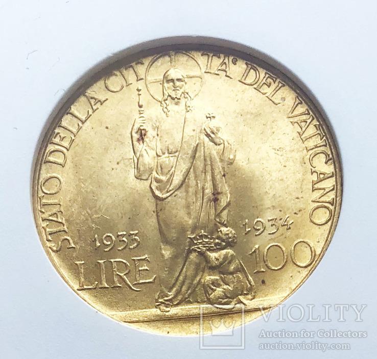 100 лир 1934  года. Ватикан. Слаб MS64.