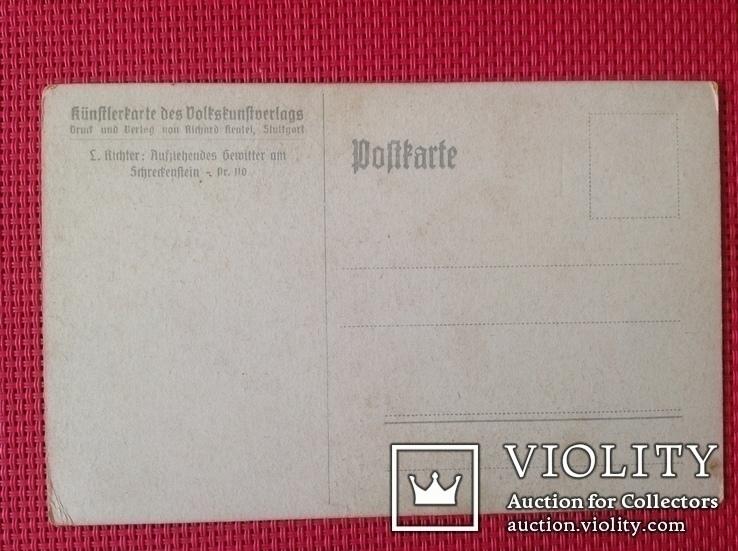"""Открытка старая Германия, Адриан людвиг Рихтер """"скала Шрекенштайн близ Аусига"""", фото №3"""