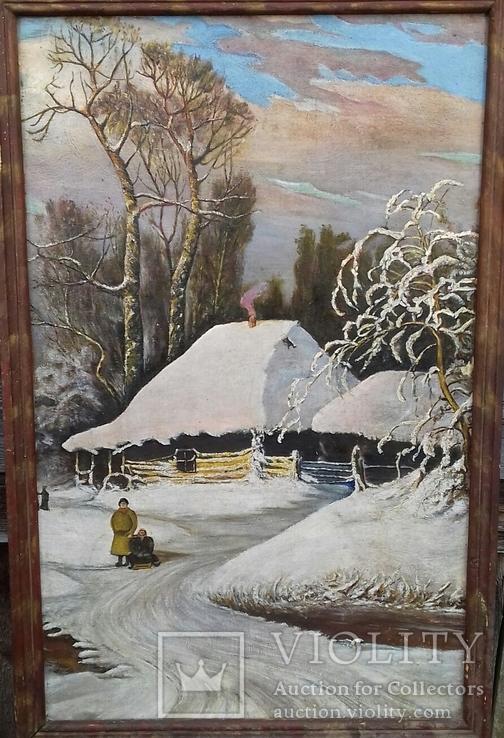 Картина Зима в селе 45×70