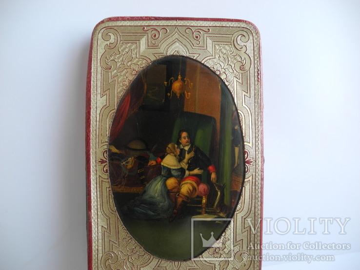 Записная книга папиросница 19 -й век ( Рисованная миниатюра Эмали на меди )