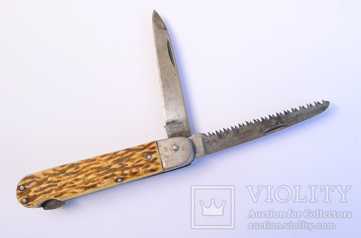Охотничий нож с пилой и фиксатором Mikov. Чехословакия.