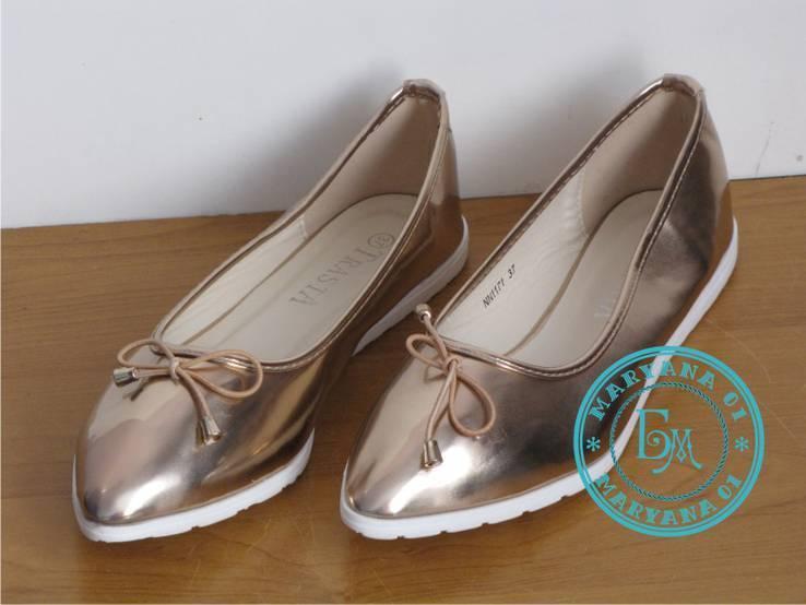 Женские балетки Бронза размер 37, фото №7