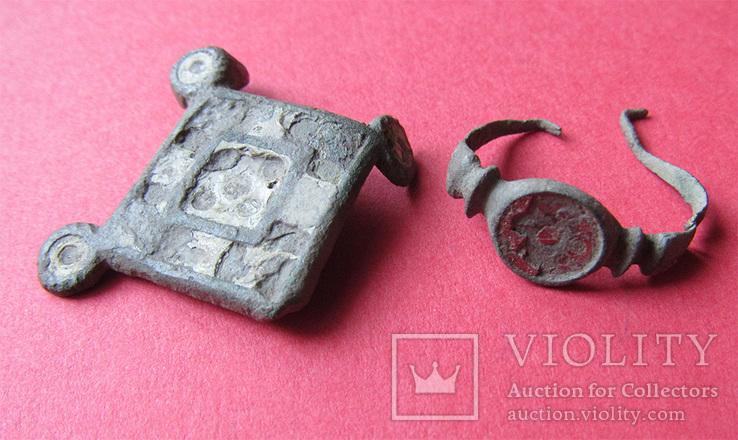 Фибула с эмалями + перстень, провинциальный Рим