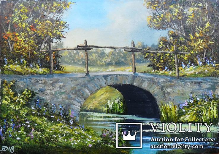 Пейзаж с мостиком маслом на холсте 35х25