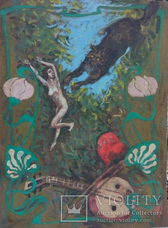 """Одесса,В.Павлов """"Ноктюрн:белая ночь-черный кот.."""",к.м.,80*60см, фото №2"""