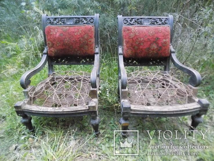 Два фотеля/м'які крісла 19ст. різьба