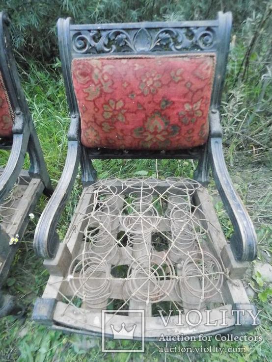 Два фотеля/м'які крісла 19ст. різьба, фото №4