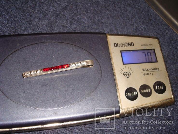 Зажим для галстука серебро 875 проба, 7 грамм, фото №12