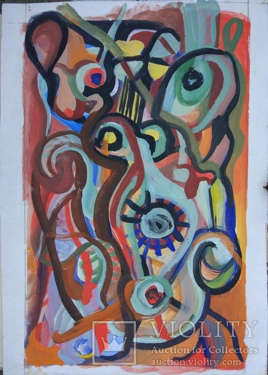 """Одесса, Нх, """"Абстрактная композиция"""", картон, гуашь,48*33.5см"""