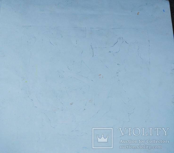 """Одесса, В.Павлов""""Соблазнение Змея Евой"""",бумага,темпера,34,5*36,5см, фото №7"""