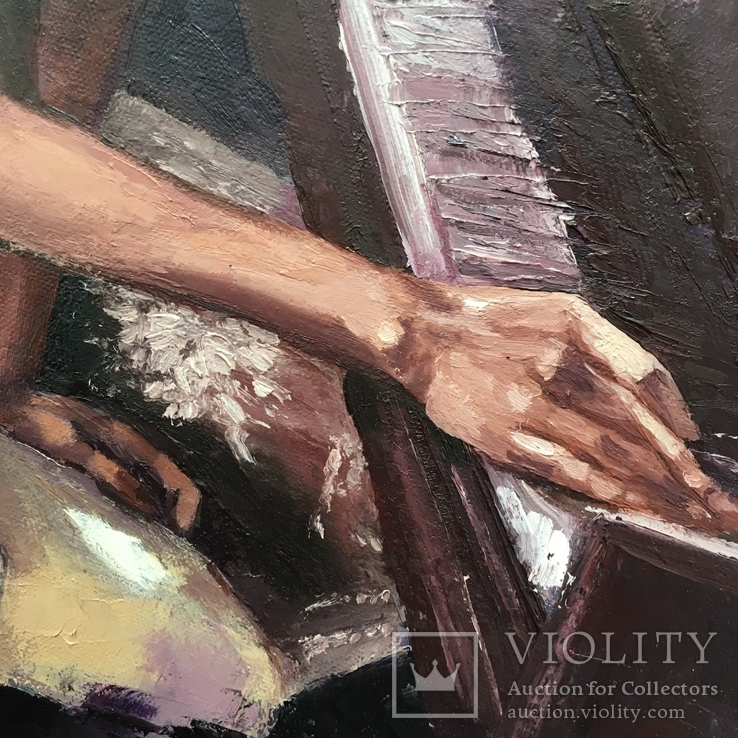 Меланхолия, 50*60 См (девушка у фортепиано), фото №4