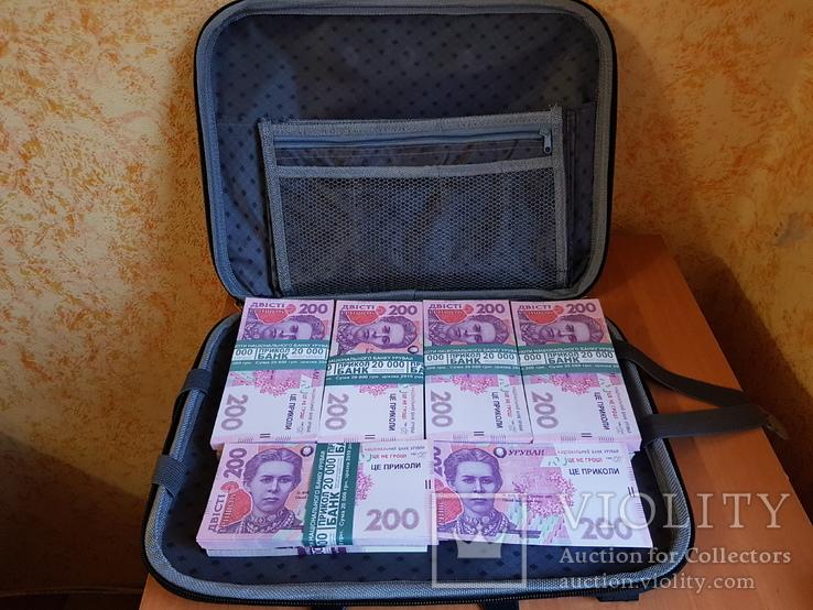 Сумка-дипломат с деньгами 200 гривень ( Муляж) Бутафорские деньги, фото №2