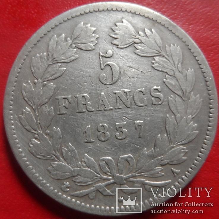 5 франков 1837 Франция. Серебро (4.4.12)~