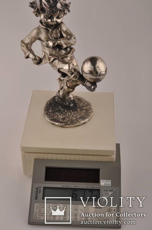 Статуэтка футболиста Италия 1982 года из  ламинированного серебра 925 пробы., фото №11