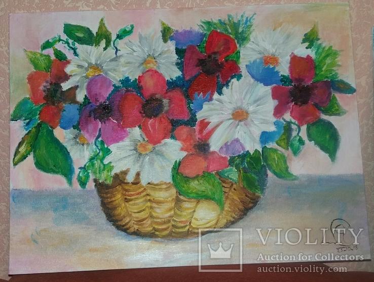 """Картина юной художницы """"Корзинка с цветами"""""""