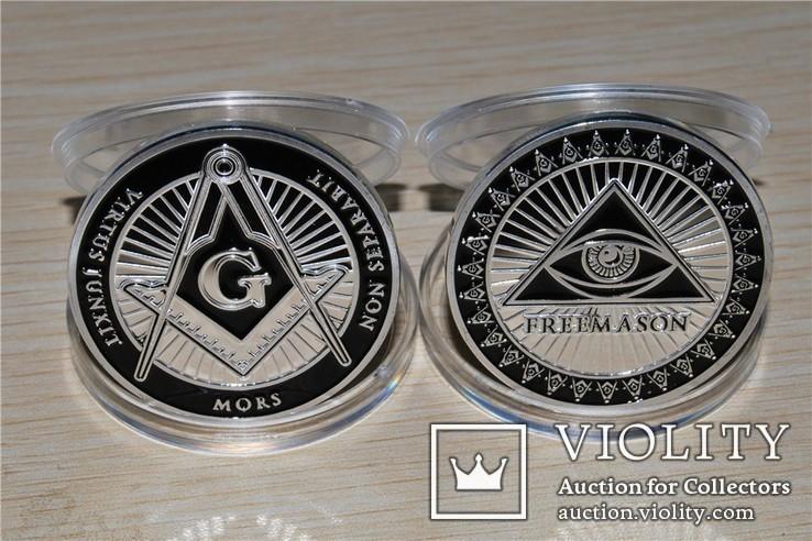 Масонский глаз сувенирная  медаль жетон