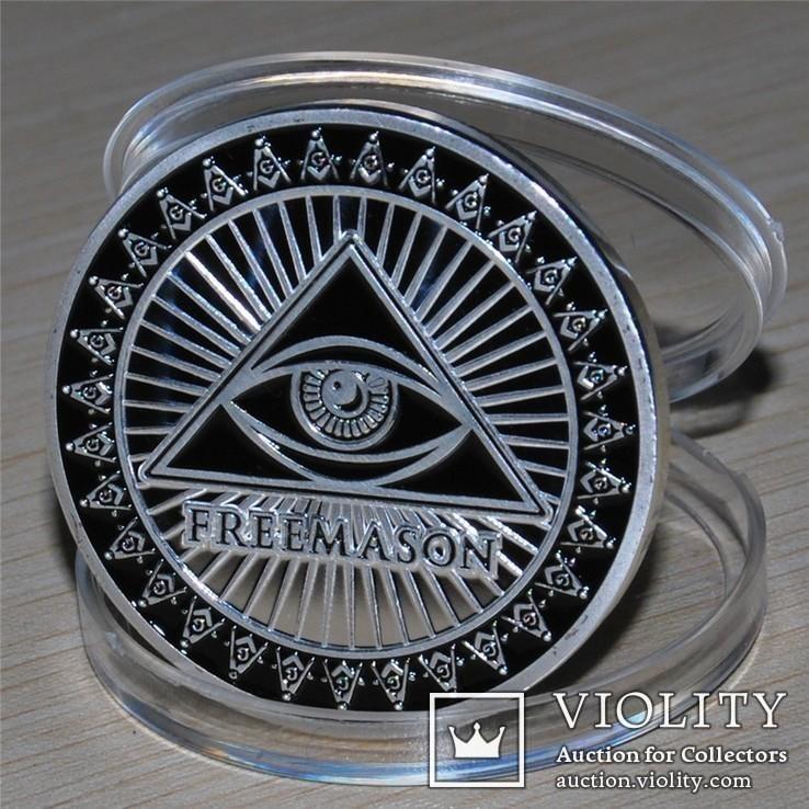 Масонский глаз сувенирная  медаль жетон, фото №4