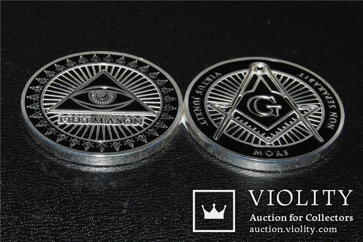 Масонский глаз сувенирная  медаль жетон, фото №5