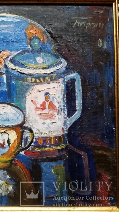"""Троян Г. """"Натюрморт с китайским фарфором"""", 1986р., 34х49 см, фото №6"""