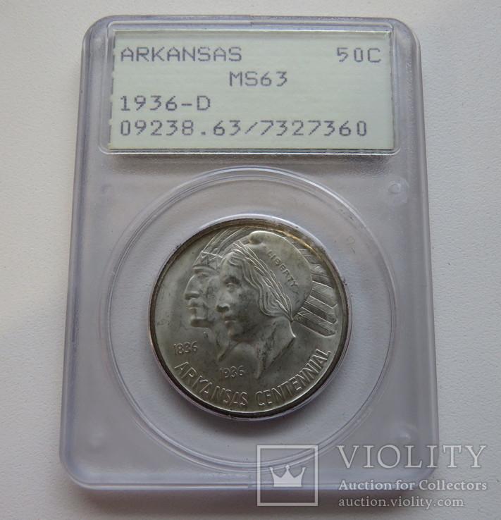 50 центов 1936 год (D) США юбилейная АРКАНЗАС