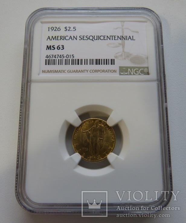 2,5 $ 1926 год США юбилейная золото 4,17 грамм 900`