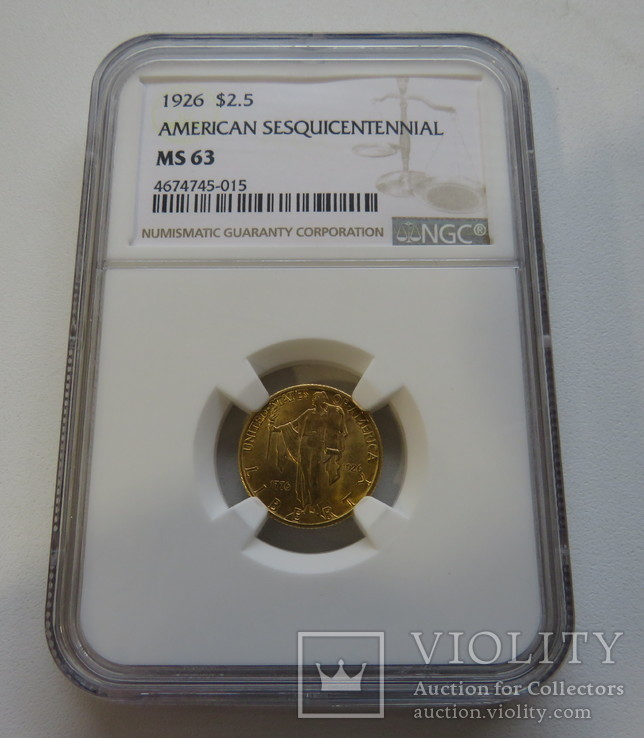 2,5 $ 1926 год США юбилейная золото 4,17 грамм 900`, фото №3