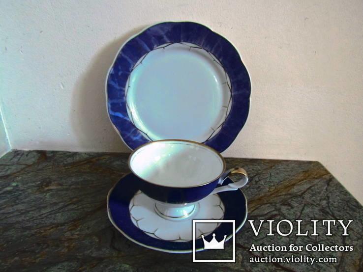 Чайное антикварное трио чашка блюдце тарелка клеймо Von Schierholz Германия