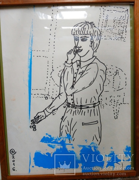 """Одесса, С.Ануфриев """"Зерцало"""",бумага,маркер, акварель,40*32см в раме под стеклом, фото №2"""