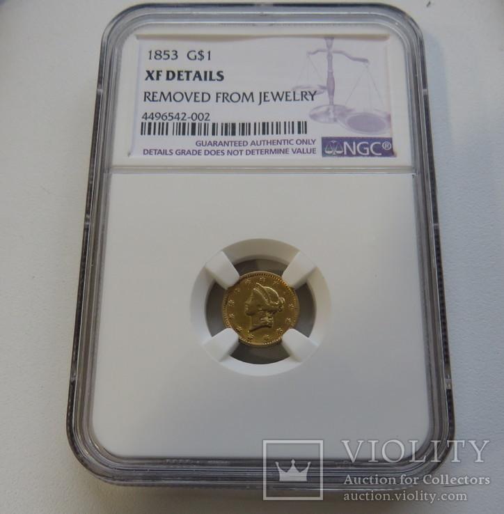 1 $ 1853 год США золото 1,66 грамм 900`