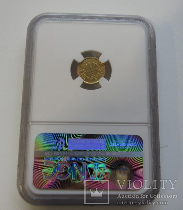1 $ 1853 год США золото 1,66 грамм 900`, фото №3