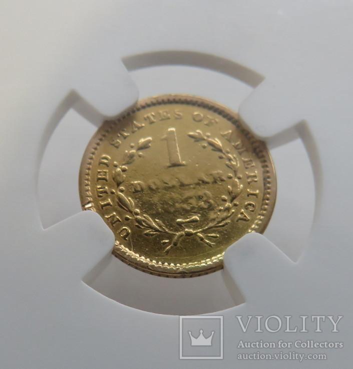 1 $ 1853 год США золото 1,66 грамм 900`, фото №5