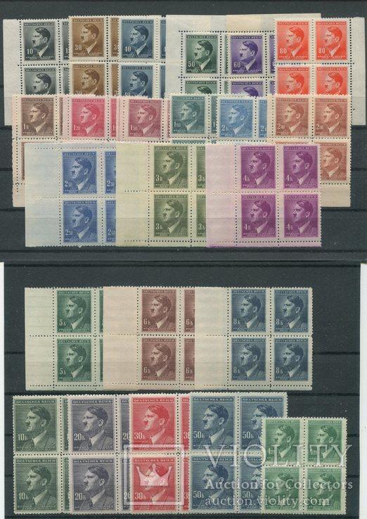 1942+1945 Рейх Богемия и Моравия Гитлер MNH ** 2 серии в квартблоках  !!!