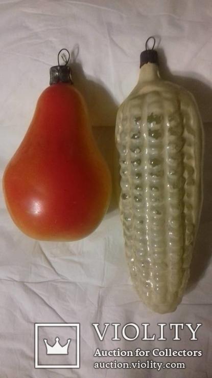 Елочные игрушки 2шт кукуруза и груша, фото №3