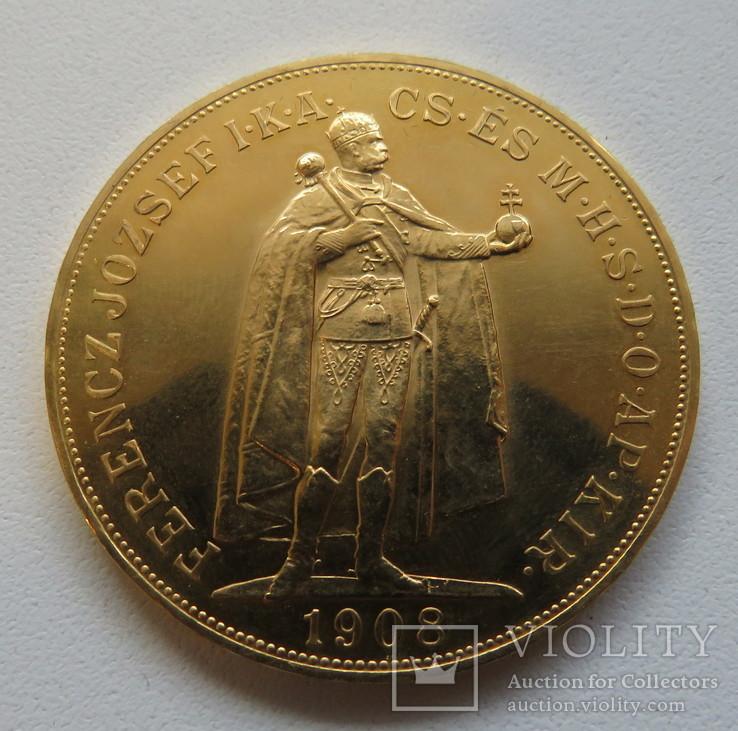 100 корон 1908 год ВЕНГРИЯ золото 33,86 грамм 900`