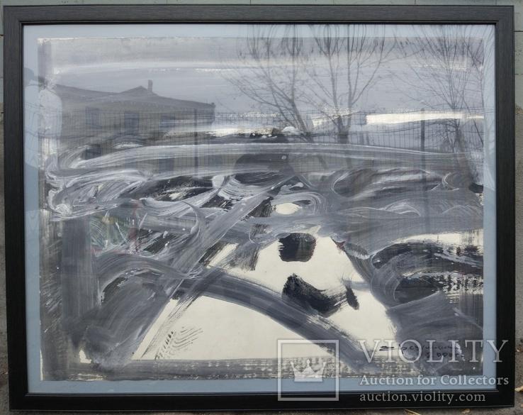 """Одесса, Е.Рахманин """"Абстрактный пейзаж"""", бумага, акрил, 62*82см в раме под пластиком, фото №4"""