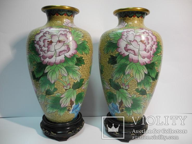 Пара ваз Клуазоне