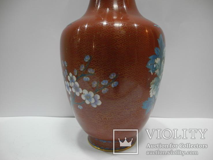 Большая Ваза Клуазоне ( Старый Китай ) 30 см., фото №8
