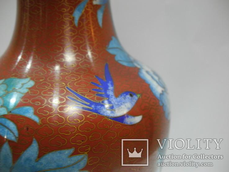 Большая Ваза Клуазоне ( Старый Китай ) 30 см., фото №10