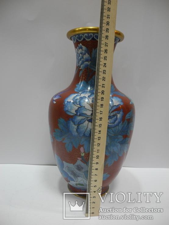 Большая Ваза Клуазоне ( Старый Китай ) 30 см., фото №11
