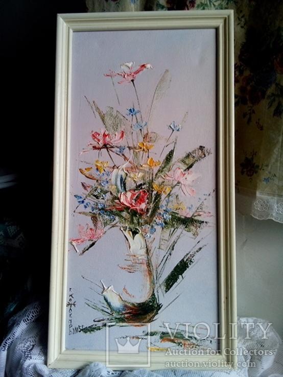 Картина написанная топором Цветы Кожокарь Г. 2005(холст,масло)