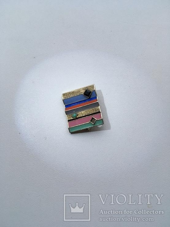 Серебряная авангардная брошь 935 пробы, супрематизм, цветные эмали, позолота