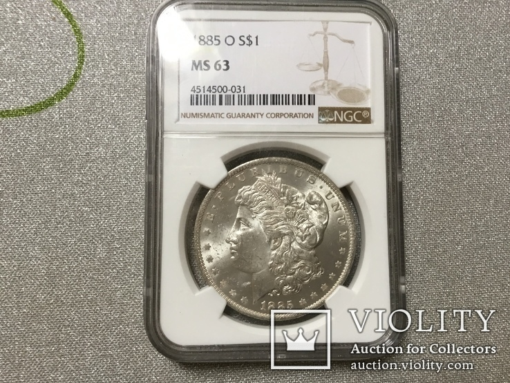 1 доллар Морган 1885 О NGC MS-63